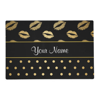 Black and Gold Kisses and Love Hearts Placemat