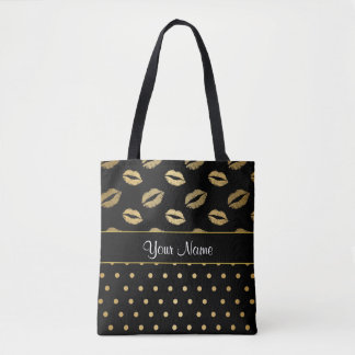Black and Gold Kisses and Love Hearts Tote Bag