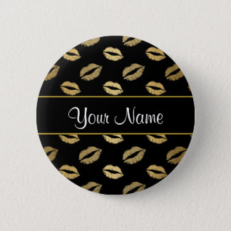 Black and Gold Kisses Button