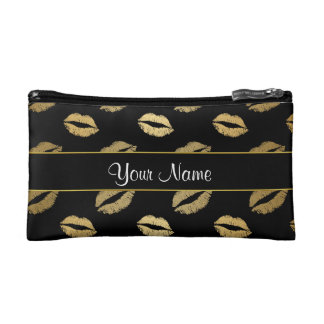 Black and Gold Kisses Cosmetic Bag