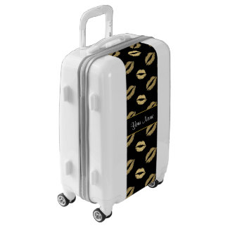 Black and Gold Kisses Luggage
