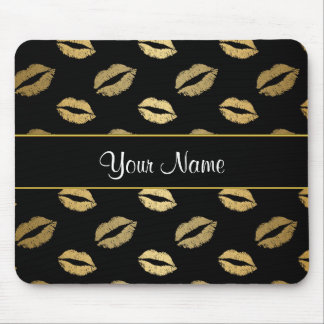 Black and Gold Kisses Mouse Pad