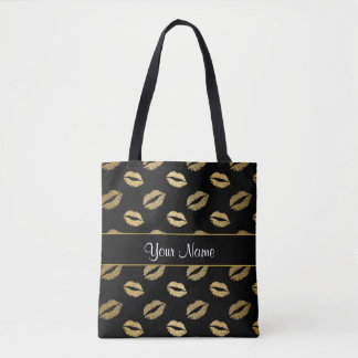 Black and Gold Kisses Tote Bag