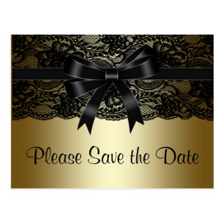 Black and Gold Lace Save The Date Postcard