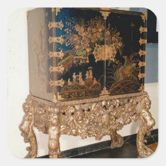 Black and gold lacquer cabinet square sticker