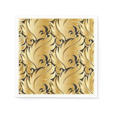 Professional Business Black and Gold Leaf Design Napkin