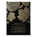 Black and Gold Leaves Vintage Fall Wedding Card