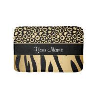 Black and Gold Leopard and Zebra Pattern Bathroom Mat