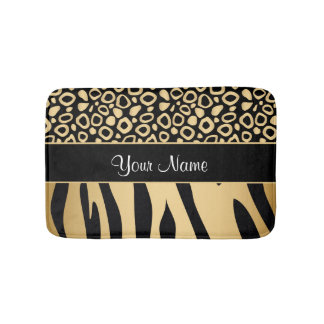 Black and Gold Leopard and Zebra Pattern Bathroom Mat