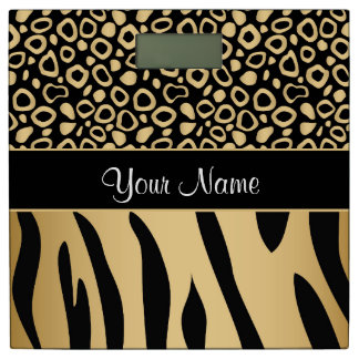 Black and Gold Leopard and Zebra Pattern Bathroom Scale