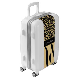 Black and Gold Leopard and Zebra Pattern Luggage