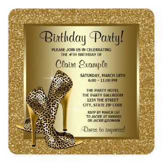 Black and Gold Leopard High Heel Birthday Party Card