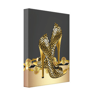 Black and Gold Leopard High Heel Shoes Boutique Stretched Canvas Prints