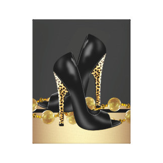 Black and Gold Leopard High Heel Shoes Boutique Gallery Wrap Canvas