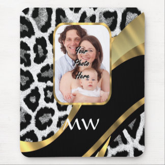 Black and gold leopard print mouse pad