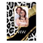 Black and gold leopard print postcard