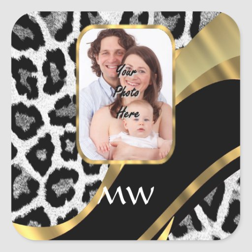 Black and gold leopard print square stickers