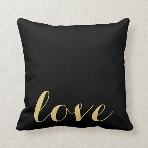 Black and Gold 'Love' Accent Pillow
