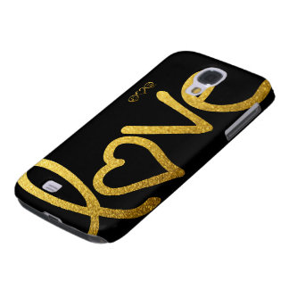 Black and Gold Love Galaxy S4 Cases