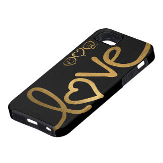 Black and Gold Love iPhone 5 Cases