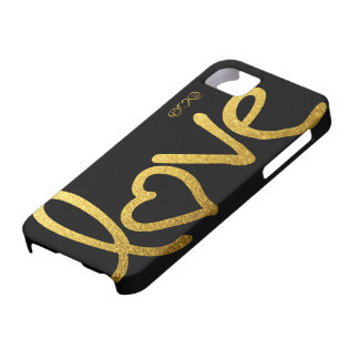 Black and Gold Love iPhone 5 Covers
