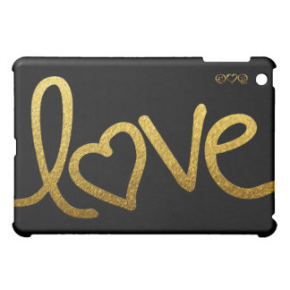 Black and Gold love handwriting Cover For The iPad Mini