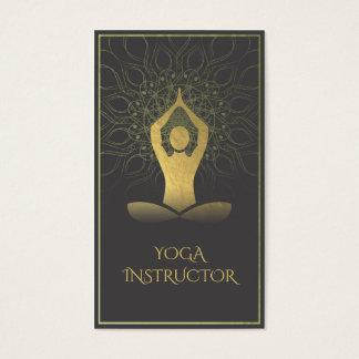 Black and Gold Mandala Yoga Meditation & Om Symbol Business Card
