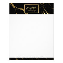 Black and Gold Marble Designer Letterhead