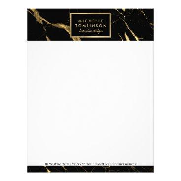 Black and Gold Marble Designer Letterhead