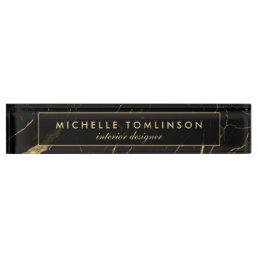 Black and Gold Marble Designer Nameplate
