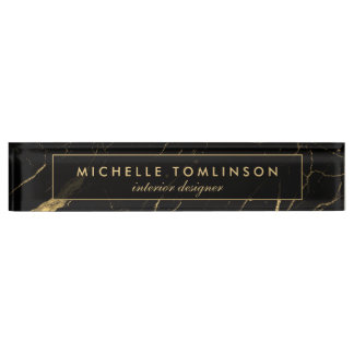 Black and Gold Marble Designer Nameplate