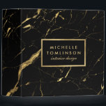 """Black and Gold Marble Designer Personalized Binder<br><div class=""""desc"""">Coordinates with the Black and Gold Marble Designer Business Card Template by 1201AM. Your name or business name is elegantly displayed over a black and faux gold background for a very chic aesthetic. The organic marble pattern feels luxurious and rich on this stylish customizable binder. &#169; 1201AM CREATIVE</div>"""