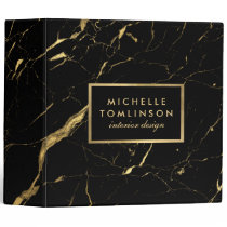 Black and Gold Marble Designer Personalized Binder
