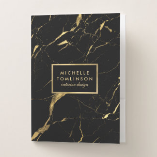 Black and Gold Marble Designer Personalized Pocket Folder