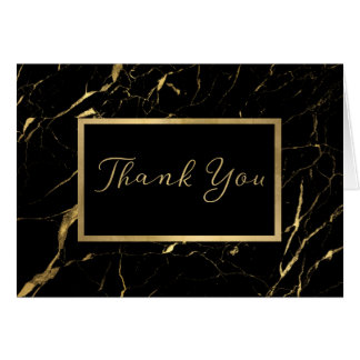 Black and Gold Marble Designer Thank You Card
