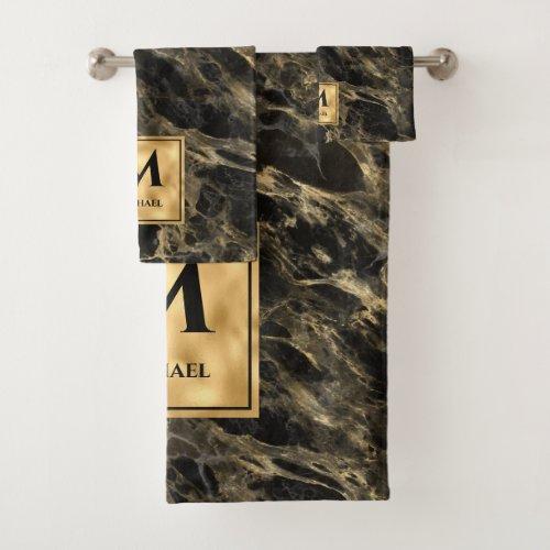 Black and Gold Marble Monogram Elegant Luxury Bath Towel Set