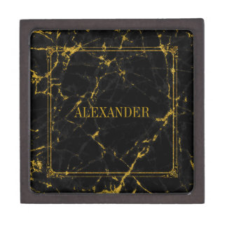 Black And Gold Marble Stone Texture Jewelry Box