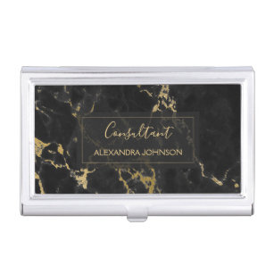 Hand lettering business card holders cases zazzle black and gold marble trendy modern business card holder colourmoves