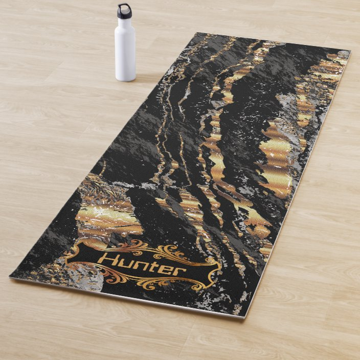 Black And Gold Marble Yoga Mat Zazzle Com