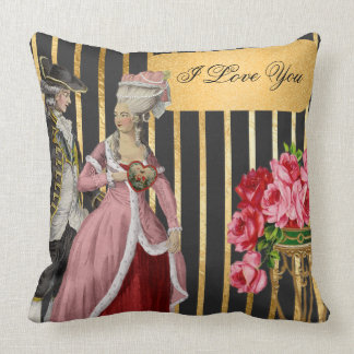 Black and Gold Marie Antoinette Valentine Throw Pillow