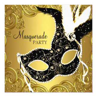 Black and Gold Mask Masquerade Party Card
