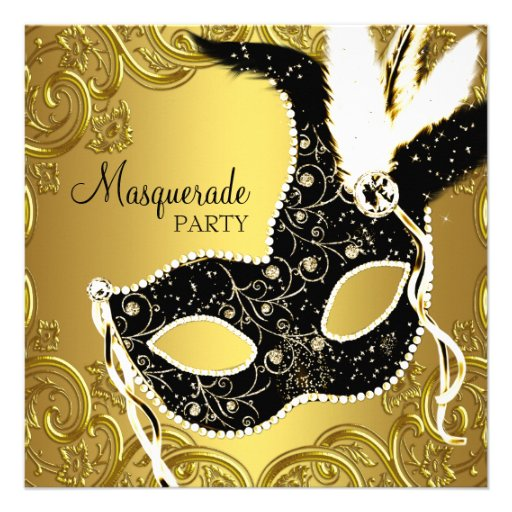 Black and Gold Mask Masquerade Party Personalized Announcements
