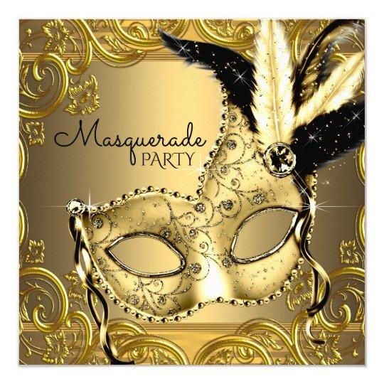 Black And Gold Masquerade Party Invitation Zazzle Com