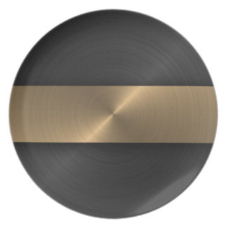 Black And Gold Melamine Plate