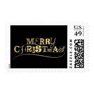 Black and Gold Merry Christmas Postage
