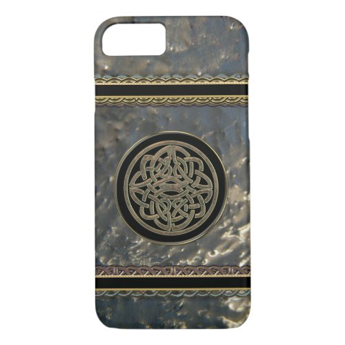 Black and Gold Metal Celtic Knot on iPhone 7 Case
