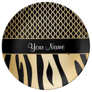 Black and Gold Metallic Animal Stripes Dinner Plate