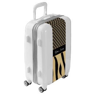 Black and Gold Metallic Animal Stripes Luggage