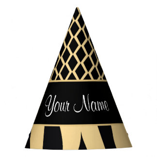 Black and Gold Metallic Animal Stripes Party Hat