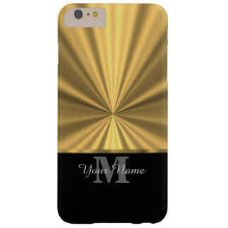 Black and gold metallic monogram barely there iPhone 6 plus case